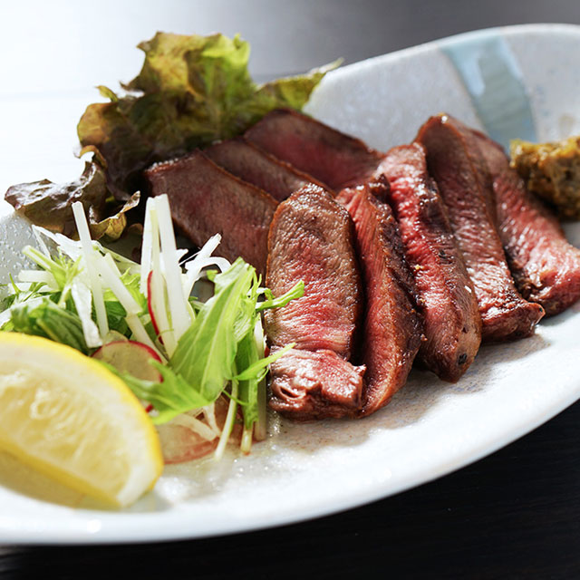 Charcoal grilled thick sliced beef tongue