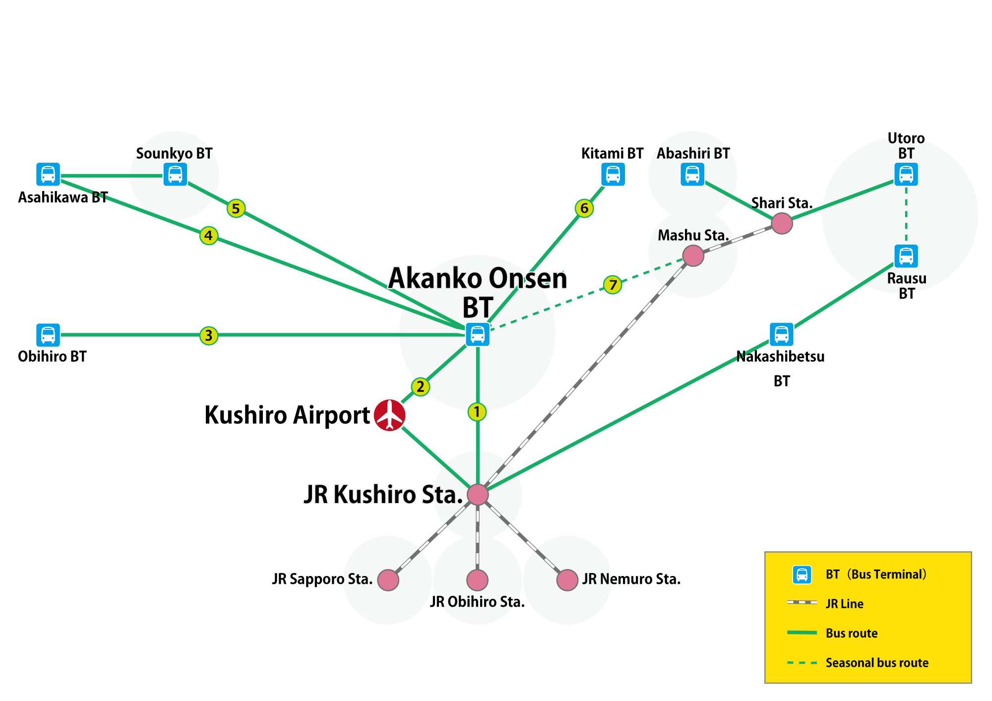 9 routes from Akanko Onsen