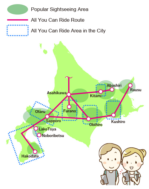 The map of available Root & area hokkaido budget bus pass