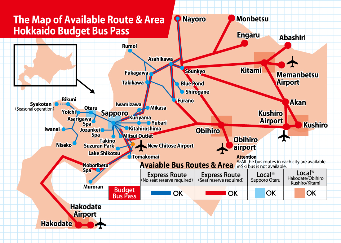 The map of available Root & area Root area hokkaido budget bus pass