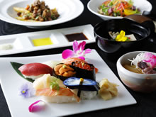 a sumptuous repast    8 Sushi Western and Japanese dinner course